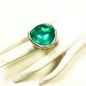 UNOde50 Green SS Plated Glazed Ring Sz 5.25